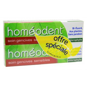 Boiron - Homéodent Dentifrice Chlorophylle Gencives sensibles 2x75ml