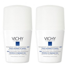 Vichy - Déodorant Anti-transpirant 48H Peaux sensibles Roll-on Lot de 2