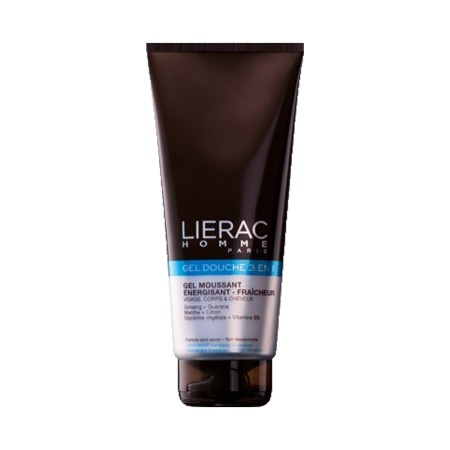 Lierac Homme - Gel douche 3 en 1 Moussant énergisant fraîcheur Visage corps et cheveux 200ml