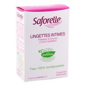 Saforelle - Lingettes intimes fraîcheur et douceur Boite 10 Lingettes