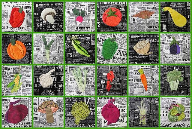 Légumes dessinés sur un tableau quadrillé.