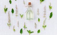 Fiole d'huile essentielle entourée de plantes