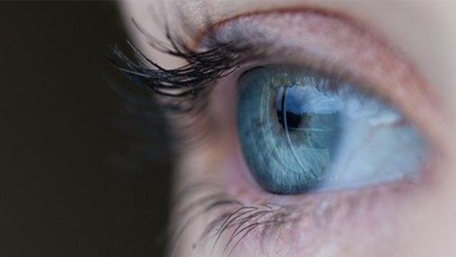 œil bleu et cils.